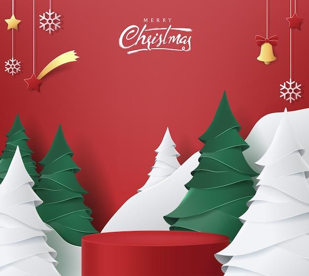 Bannière joyeux noël avec forme cylindrique d'affichage de produit