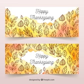 Bannière de joyeux thanksgiving day définie dans un style aquarelle