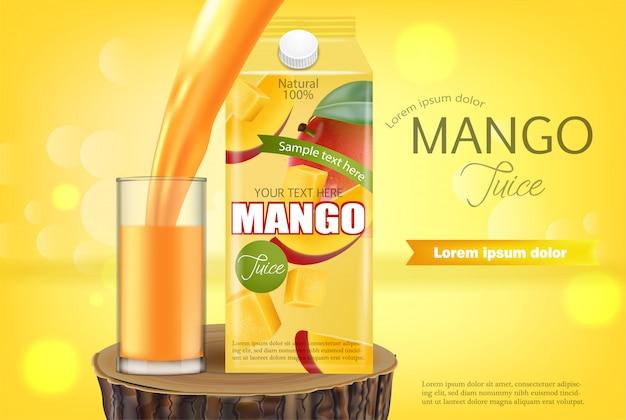 Bannière de jus de mangue