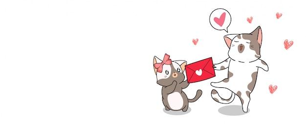 Bannière kawaii cat donne une lettre d'amour à l'autre chat
