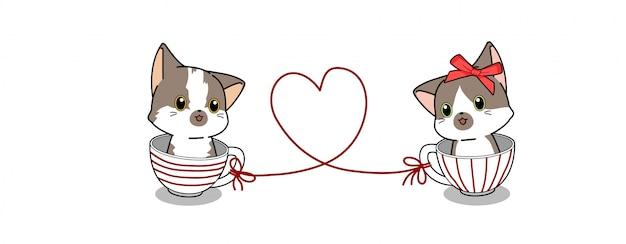 Bannière kawaii couple chat à l'intérieur de la tasse illustration