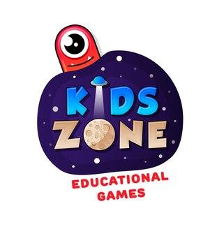 Bannière kids zone en style cartoon avec un bon monstre de gelée et un ovni