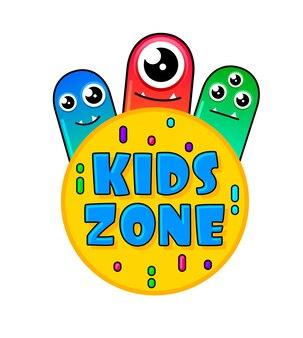 Bannière kids zone en style cartoon avec un bon monstre de gelée
