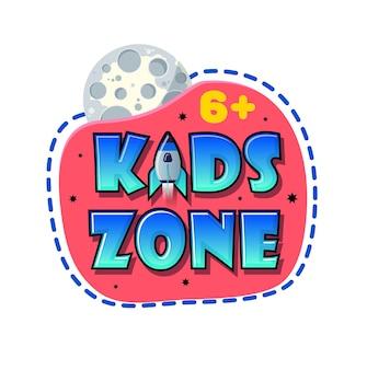 Bannière kids zone en style cartoon avec planète et fusée