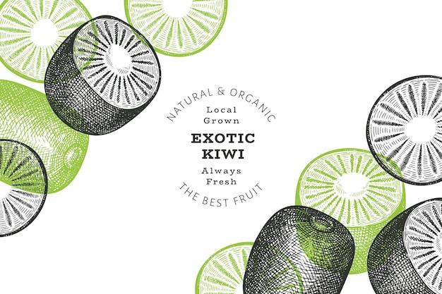 Bannière de kiwi de style croquis dessinés à la main. illustration de fruits frais biologiques. modèle de conception de fruits kiwi rétro