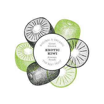 Bannière de kiwi de style croquis dessinés à la main. illustration de fruits frais biologiques. modèle de kiwi rétro