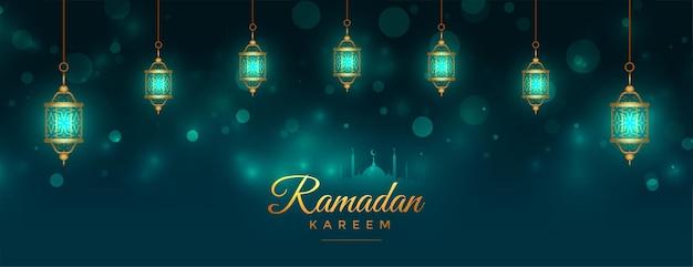 Bannière de lampes lanterne islamique belle ramadan kareem