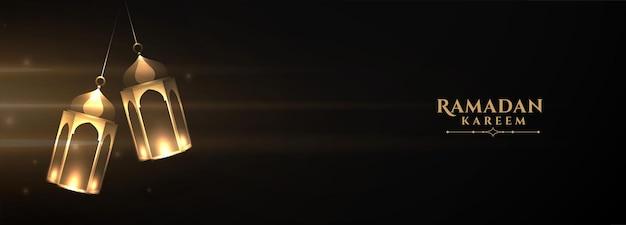 Bannière de lanterne ramadan kareem