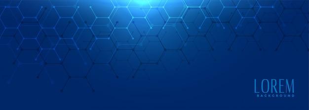 Bannière large bleue de forme hexagonale