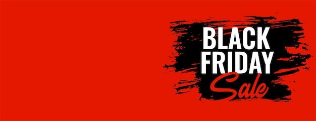 Bannière large orange de vente vendredi noir avec espace de texte