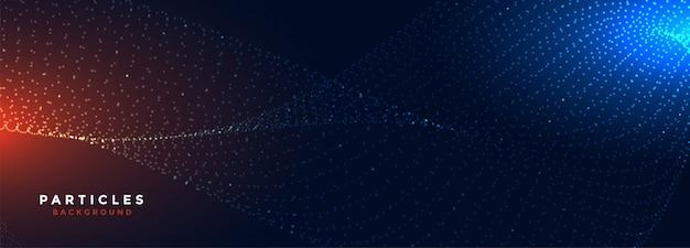 Bannière large de particules de technologie numérique rougeoyante