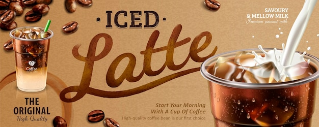 Bannière de latte glacé, café sur papier kraft