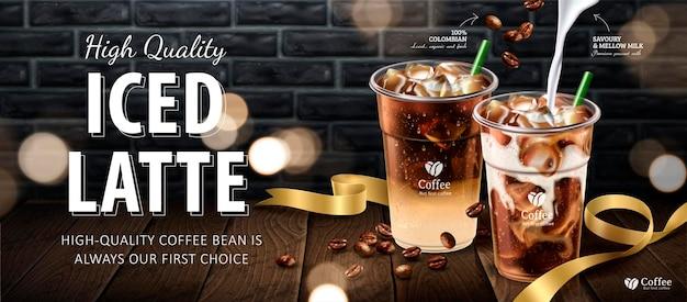 Bannière de latte glacé, café sur table en bois