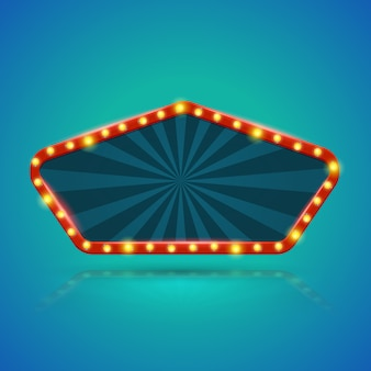 Bannière légère du pentagone avec ampoules sur le contour