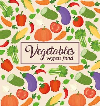 Bannière avec légumes, concept de nourriture saine et végétalienne