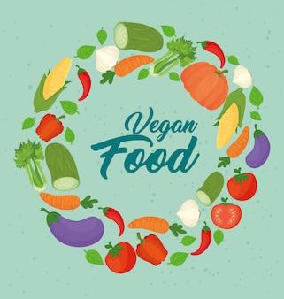 Bannière avec légumes, concept de nourriture végétalienne, cadre circulaire avec légumes