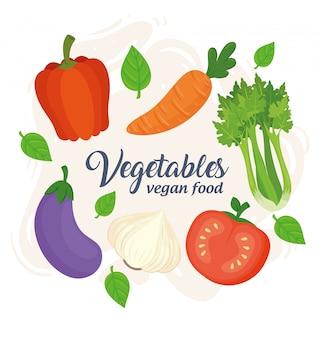 Bannière avec légumes, concept de nourriture végétalienne avec des légumes frais et sains
