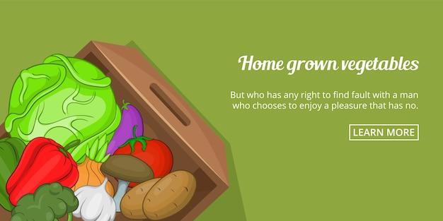 Bannière de légumes à la maison horizontale, style cartoon