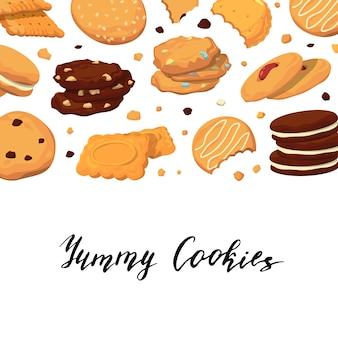 Bannière avec lettrage et cookies de dessin animé