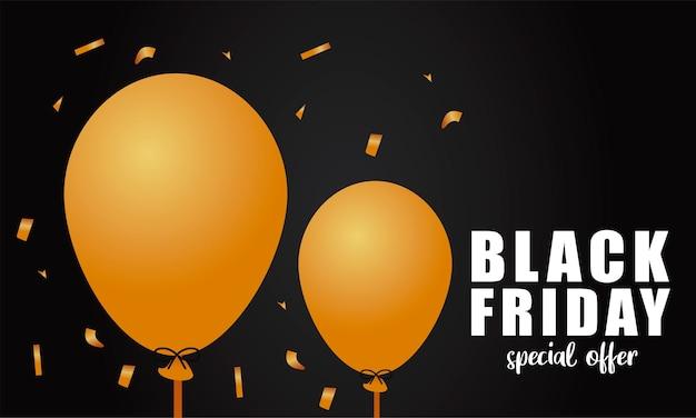 Bannière de lettrage de vente vendredi noir avec des ballons dorés à l'hélium sur fond noir
