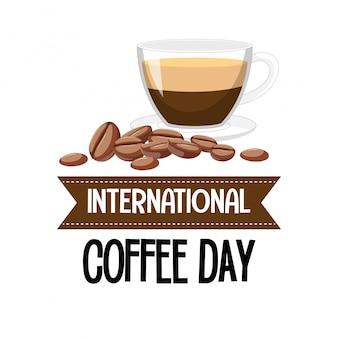Bannière de lettre de la journée internationale du café