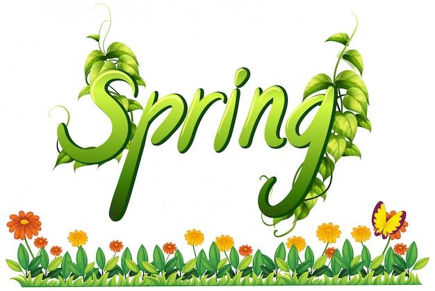Une bannière de lettre de texte de printemps