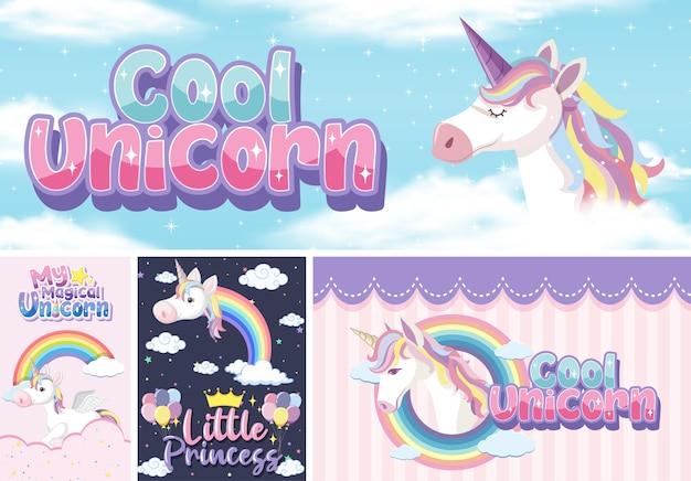 Bannière de licorne mignon sur la couleur de fond pastel