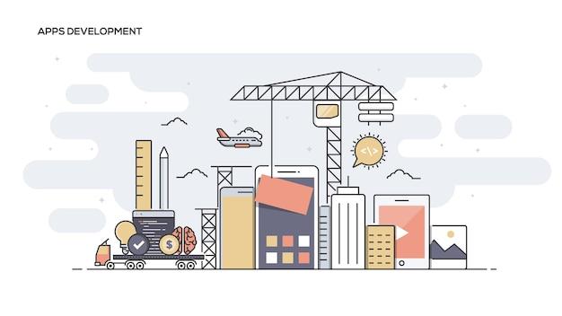 Bannière de ligne de développement d'applications