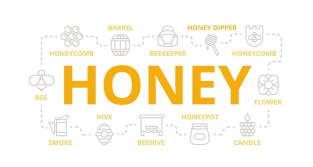 Bannière de ligne de miel pour le concept de design.