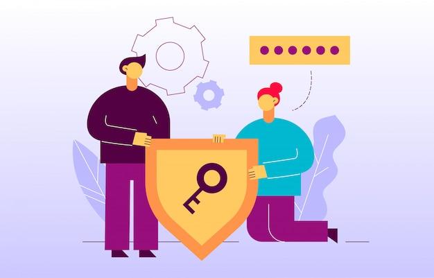 Bannière en ligne de page web de cryptage de données vectorielles