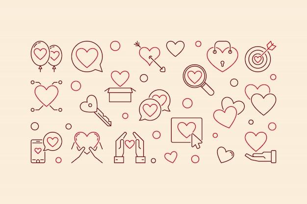 Bannière linéaire créative de vecteur addiction amour