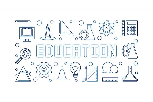 Bannière linéaire horizontale de vecteur éducation bleu