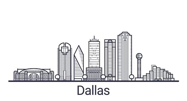 Bannière linéaire de la ville de dallas. tous les bâtiments - différents objets personnalisables avec un masque d'écrêtage, vous pouvez donc modifier l'arrière-plan et la composition. dessin au trait.