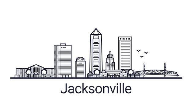 Bannière linéaire de la ville de jacksonville. tous les bâtiments