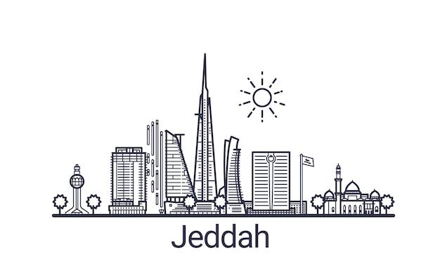 Bannière linéaire de la ville de jeddah. tous les bâtiments