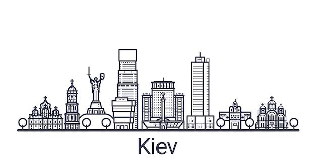 Bannière linéaire de la ville de kiev. tous les bâtiments de kiev art.