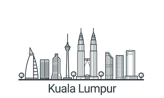 Bannière linéaire de la ville de kuala lumpu. tous les bâtiments