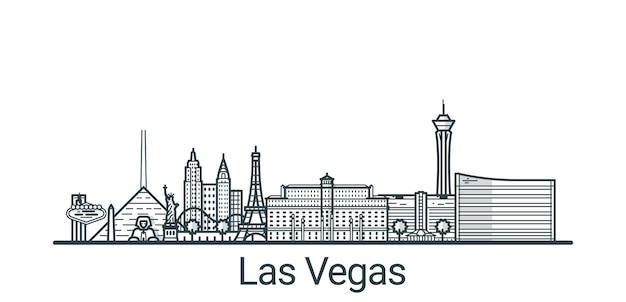 Bannière linéaire de la ville de las vegas. tous les bâtiments
