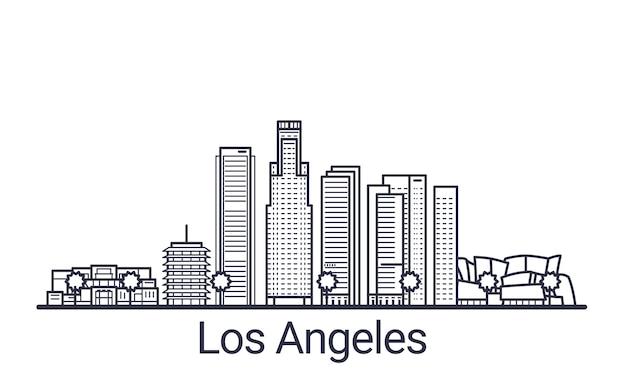 Bannière linéaire de la ville de los angeles. tous les bâtiments de los angeles art.