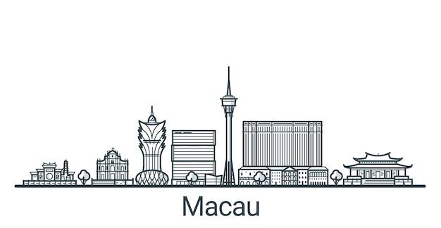 Bannière linéaire de la ville de macao. tous les bâtiments