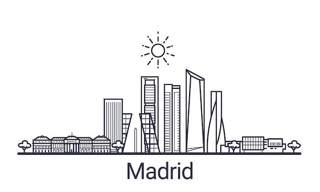 Bannière linéaire de la ville de madrid. tous les bâtiments de madrid art.