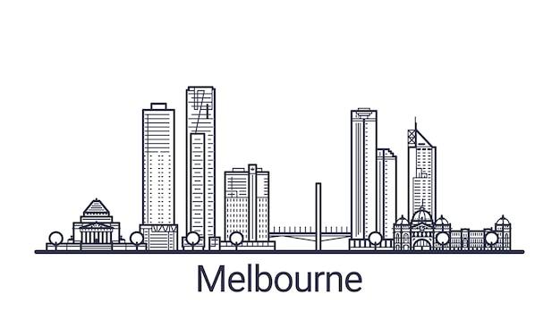 Bannière linéaire de la ville de melbourne. tous les bâtiments