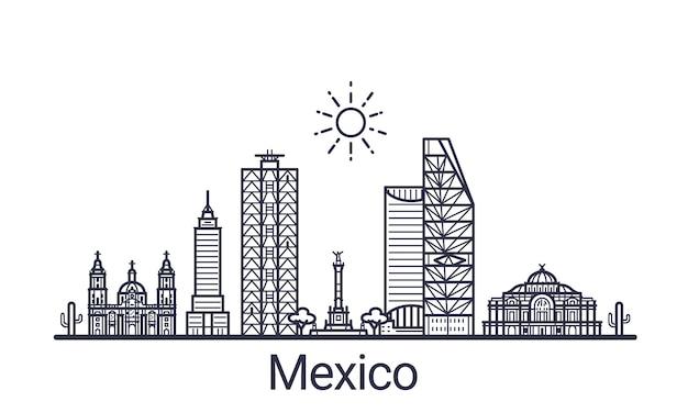 Bannière linéaire de la ville de mexico. tous les bâtiments du mexique art.