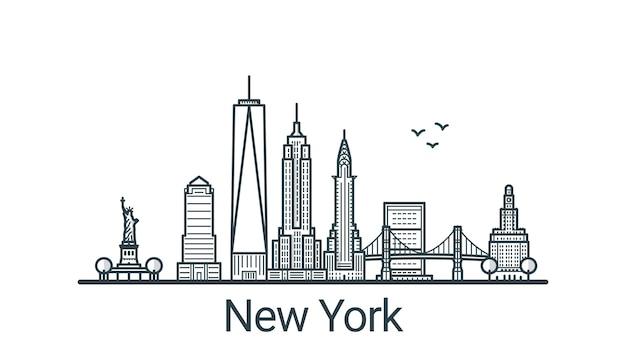 Bannière linéaire de la ville de new york. tous les bâtiments