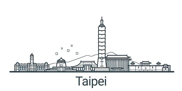 Bannière linéaire de la ville de taipei dessinée à la main