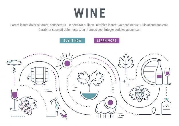 Bannière linéaire de vin