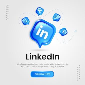 Bannière linkedin d'icônes de médias sociaux