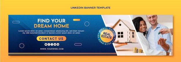 Bannière linkedin de l'immobilier à texture dégradée