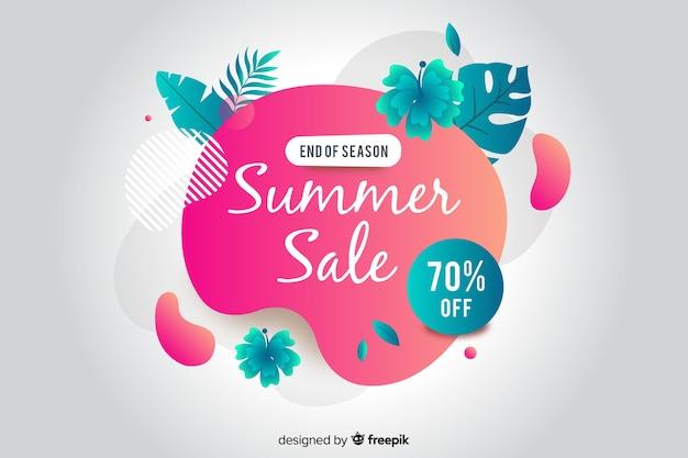Bannière liquide abstraite de vente d'été