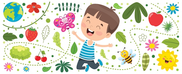 Bannière avec little kid at nature